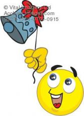 Clipart Illustration of a Smiley Face Ringing a Bell